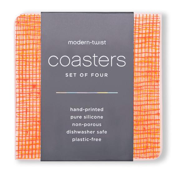 Coasters in Tangerine Linen