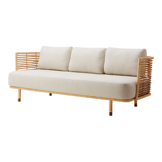 Sense 3 Seater Sofa in Natural with White Grey Cushion