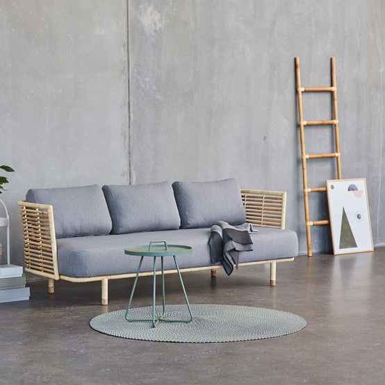 Sense 3 Seater Sofa in Natural with Light Grey Cushion