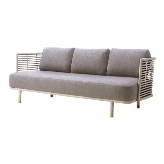 Sense 3 Seater Sofa in White Grey with Light Grey Cushion