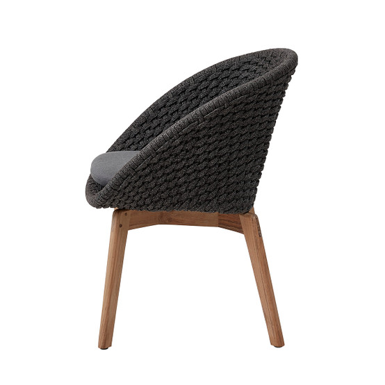 Peacock Dining Chair in Dark Grey with Grey Natte Cushion
