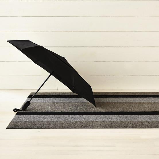 Bold Stripe Shag Mat in Silver/Black