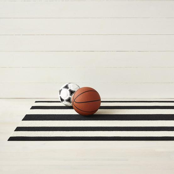 Bold Stripe Shag Mat in Black/White