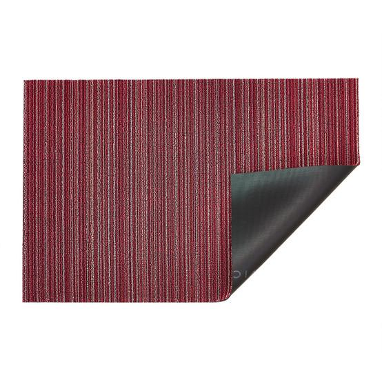 Skinny Stripe Shag Mat in Raspberry