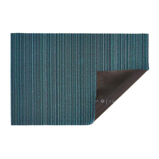 Skinny Stripe Shag Mat in Turquoise