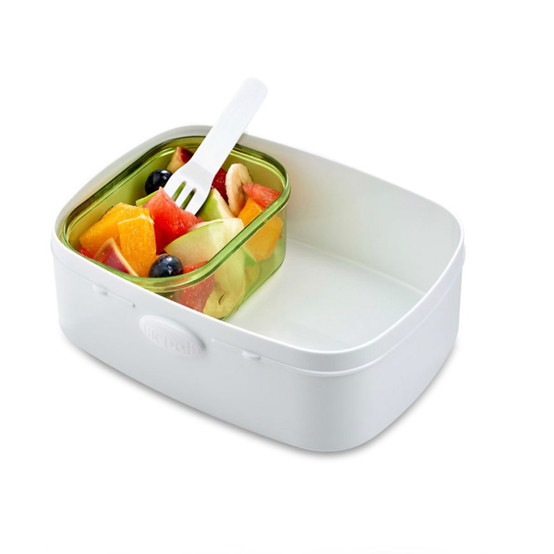 Take A Break Fruit Box with Fork in Nordic Red