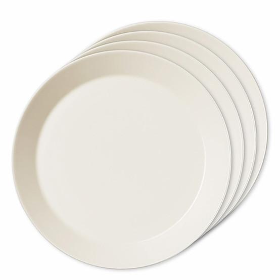 Set of 4 Teema Dinner Plates in White