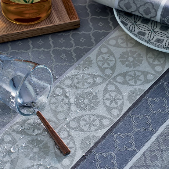 """Mille Bastides 59""""x87"""" Coated Tablecloth in Charbon"""