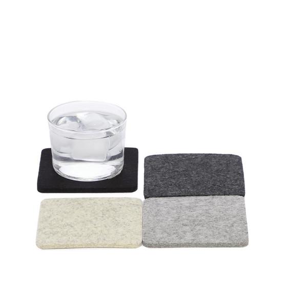 Bierfilzl Square Coaster 4 Pack in Noir - Heather White, Granite, Charcoal, Black