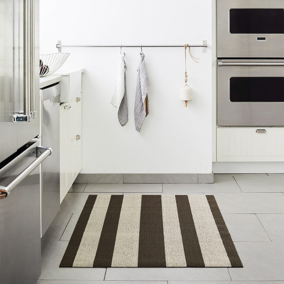 Bold Stripe Shag Mat in Pebble