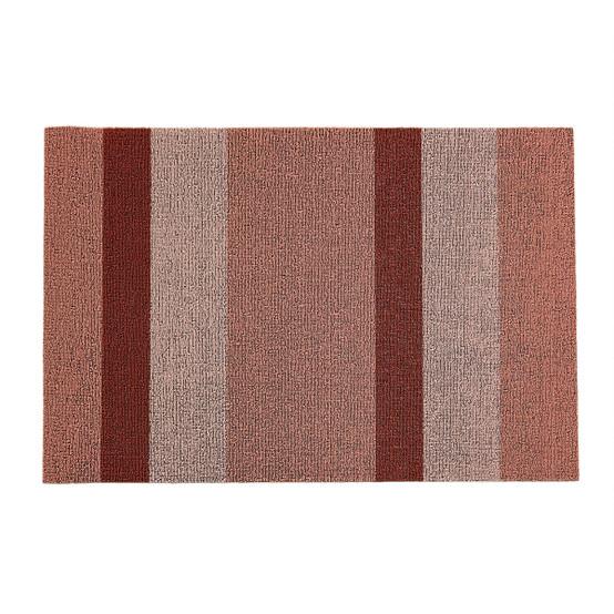 Bold Stripe Shag Mat in Peach