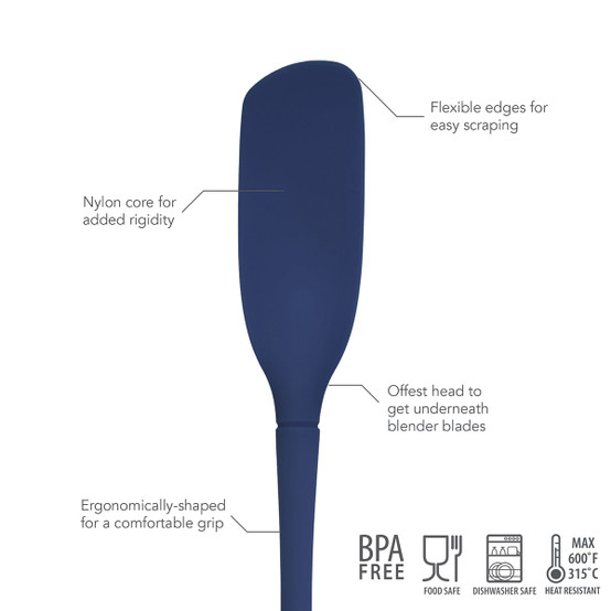Flex-Core All Silicone Blender Spatula in Deep Indigo