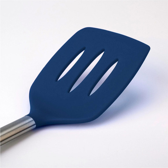 Silicone Slotted Turner in Deep Indigo