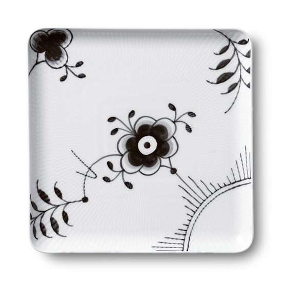 Black Fluted Mega 8 inch Square Plate