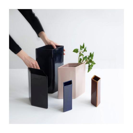 Ruutu 9 inch Ceramic Vase in Black