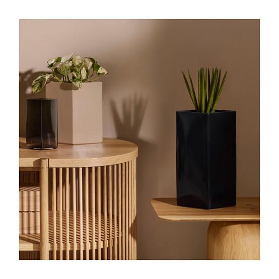 Ruutu 13 inch Ceramic Vase in Black