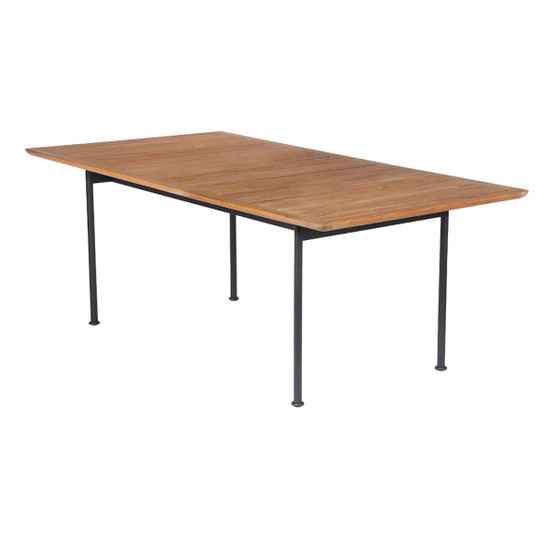 "Layout 77"" Teak Dining Table in Forge Grey"