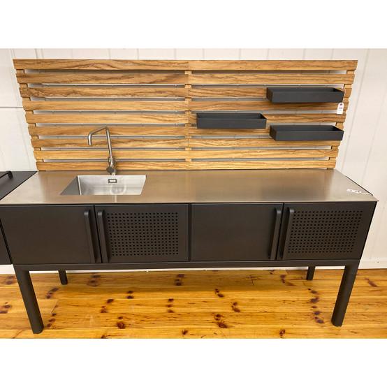 Drop Kitchen Module with Teak Wall