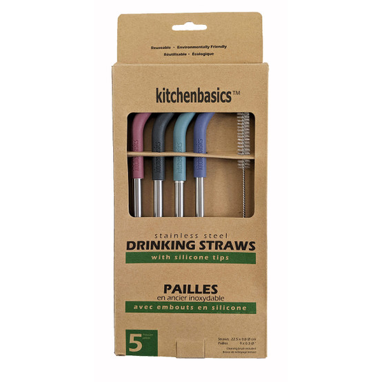 Stainless Steel Straws with Silicone Tip and Cleaning Brush