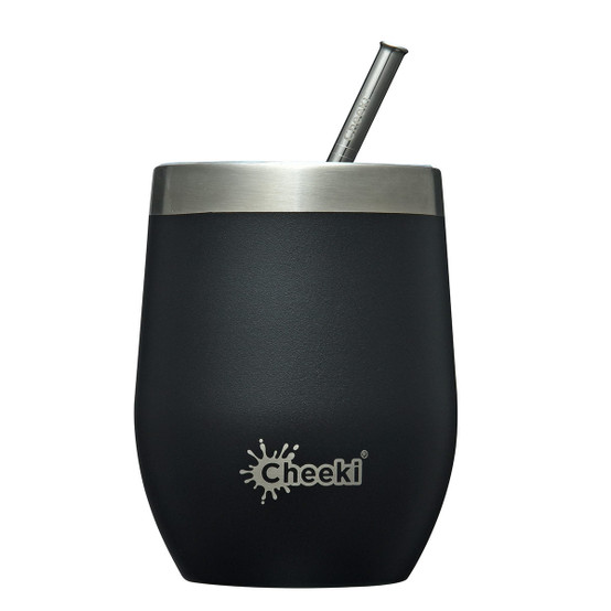 Stainless Steel Insulated Wine Tumbler with Straw in Black