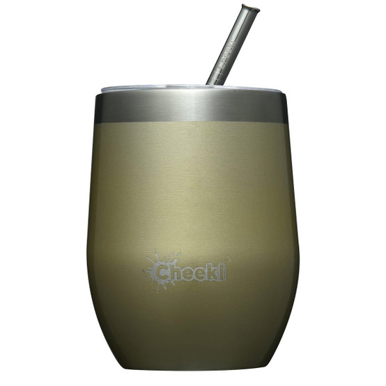 Stainless Steel Insulated Wine Tumbler with Straw in Gold