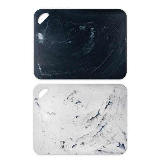 2 Piece Cutting Mat in Marble (Black and White)