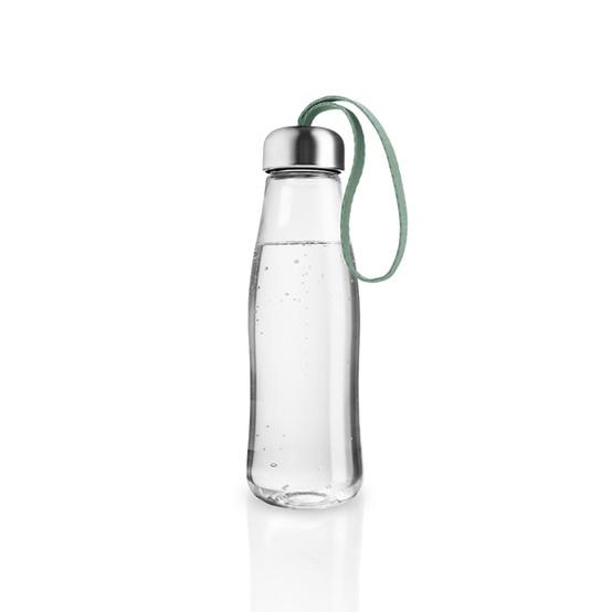 Glass Drinking Bottle In Faded Green