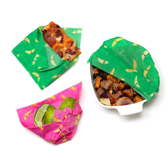 3 Pack That's Bananas! Food Wraps (2 Medium Green, 1 Small Pink)