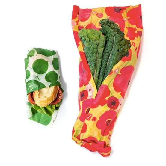 2 Pack Leafy Green and Poppy Food Wraps