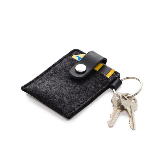 Key Card Case in Charcoal Felt
