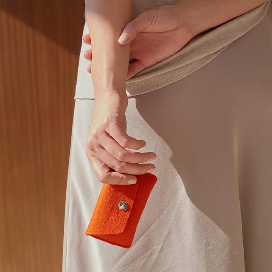 Card Wallet in Orange Felt