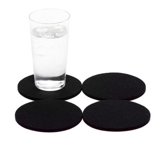 Round Coaster 4 Pack, Black