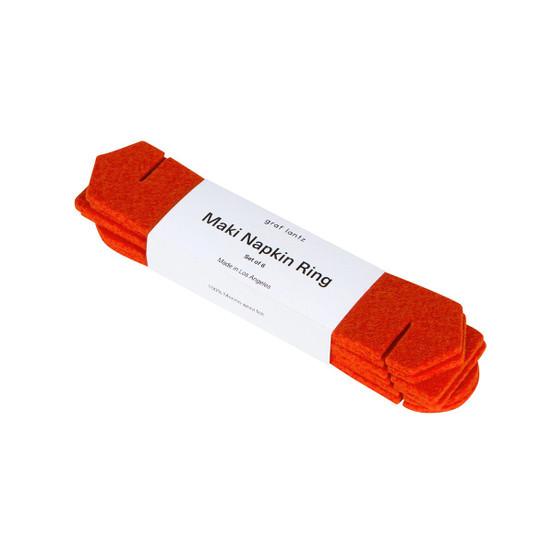 Maki Napkin Ring Set in Orange