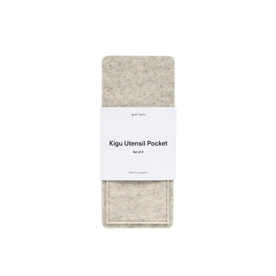 Kigu Utensil Pocket in Heather White, 2 Pack