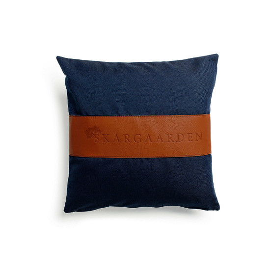 Snack Pillow in Dark Blue and Leather