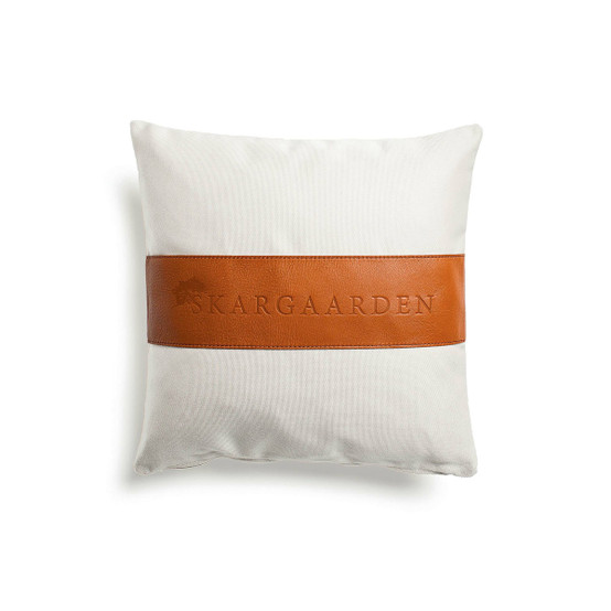 Snack Pillow in White and Leather