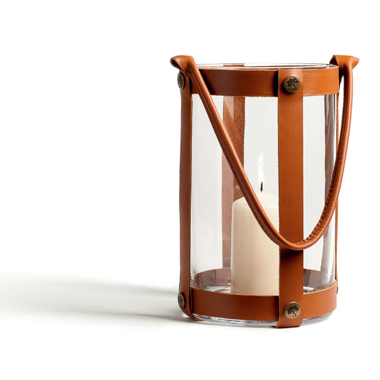 Marstrand Candle Lantern in Light Leather and Glass