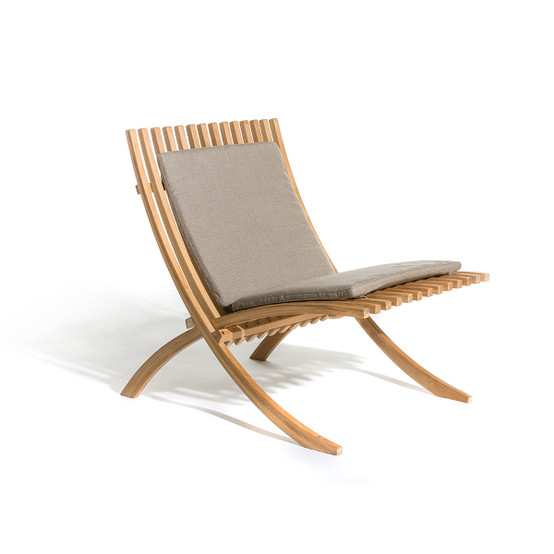 Nozib Lounge Chair Cushion with Natte Heather Grey Fabric