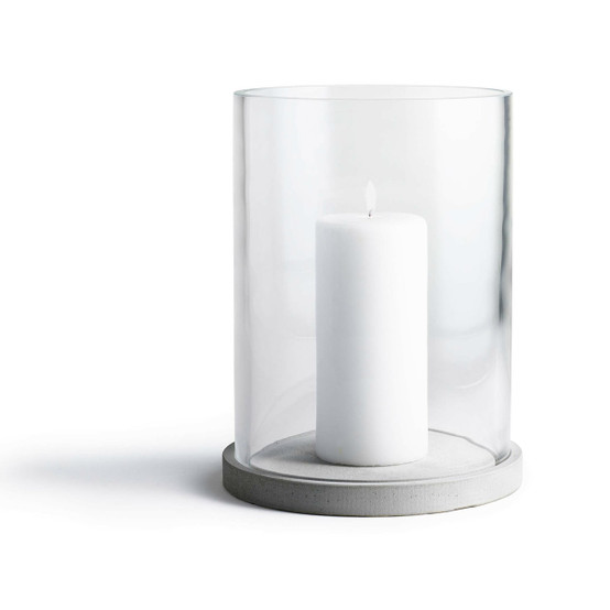 Moja Candle Lantern in Concrete and Clear Glass