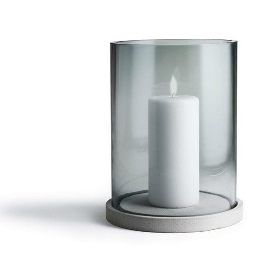 Moja Candle Lantern in Concrete and Grey Glass