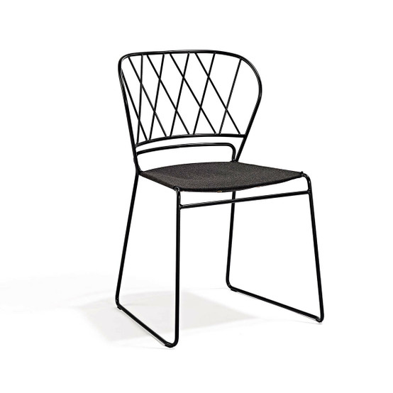 Resö Dining Chair with Charcoal Frame and Natte Soot Fabric Seat