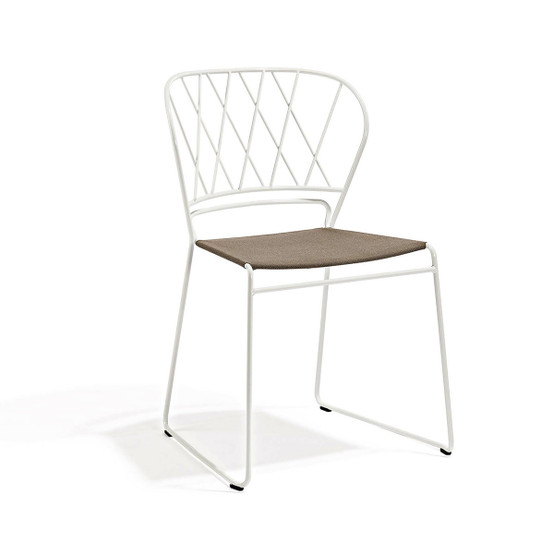 Resö Dining Chair with White Frame and Natte Heather Chine Fabric Seat