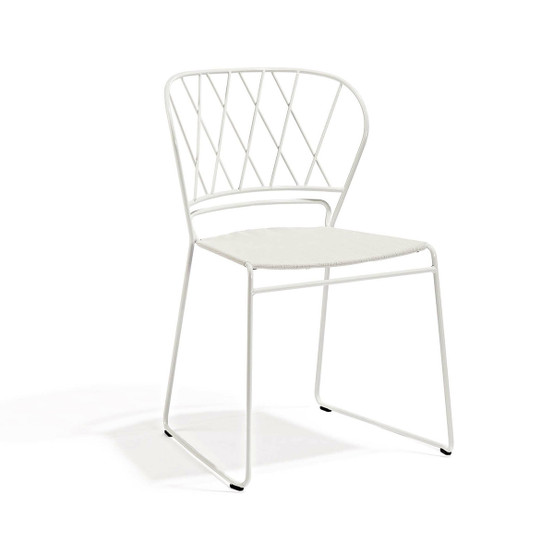 Resö Dining Chair with White Frame and Natte White Fabric Seat