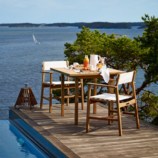 Djurö Dining Armchair in Teak and Fabric