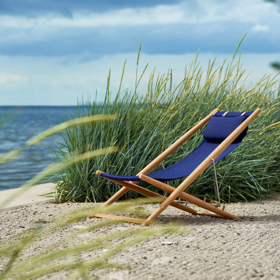 H55 Lounge Chair with Solid Navy Blue Fabric