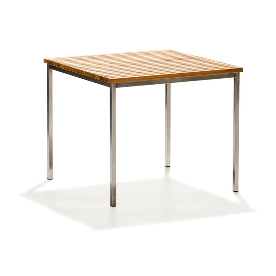Häringe Small Table with Brushed Stainless Steel Frame