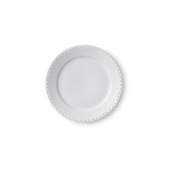 White Fluted Full Lace Dinner Plate