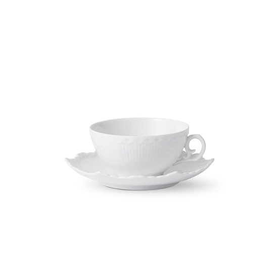 White Fluted Full Lace Tea Cup and Saucer