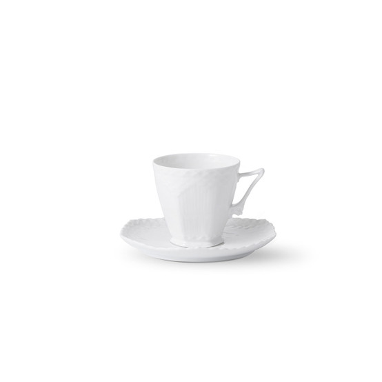 White Fluted Full Lace Coffee Cup and Saucer