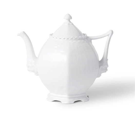 White Fluted Full Lace Tea Pot
